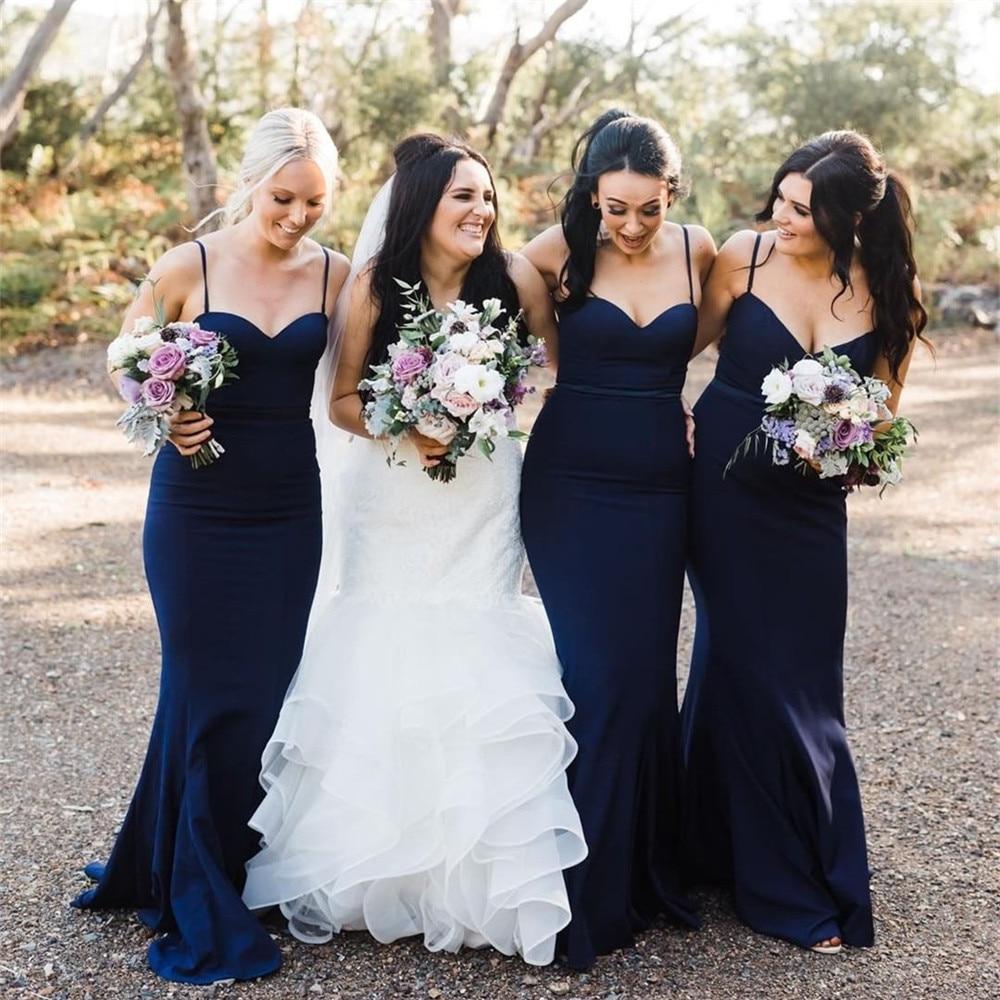 Cheap Navy Blue Mermaid   Bridesmaid     Dresses   2019 Spagehtti Strap Floor Length Elastic Satin Long Wedding Party   Dress   Custom Made