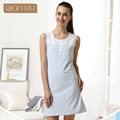 Qianxiu Cotton Pajamas Summer Coulp Lounge Wear Men short-sleeve  Pajama Set  Women sleeveless one-piece Nightgown