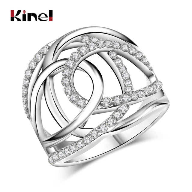 2017 Fashion Wedding Rings For Women Silver Color White Czech Drill Double C Lin