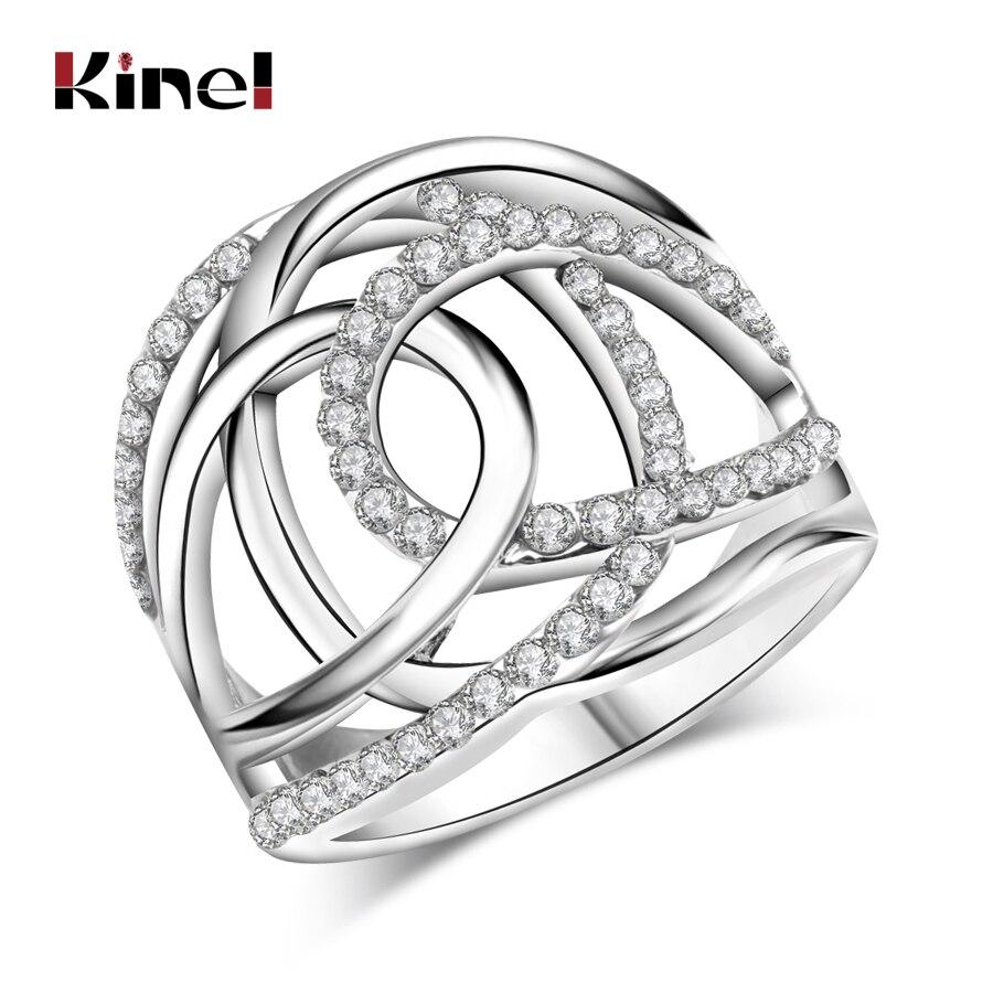 2017 Mode Hochzeit Ringe Für Frauen Silber Farbe Weiß Tschechische Bohrer Doppel C Linien Kreuzen Marke Kleidung Zubehör Schmuck