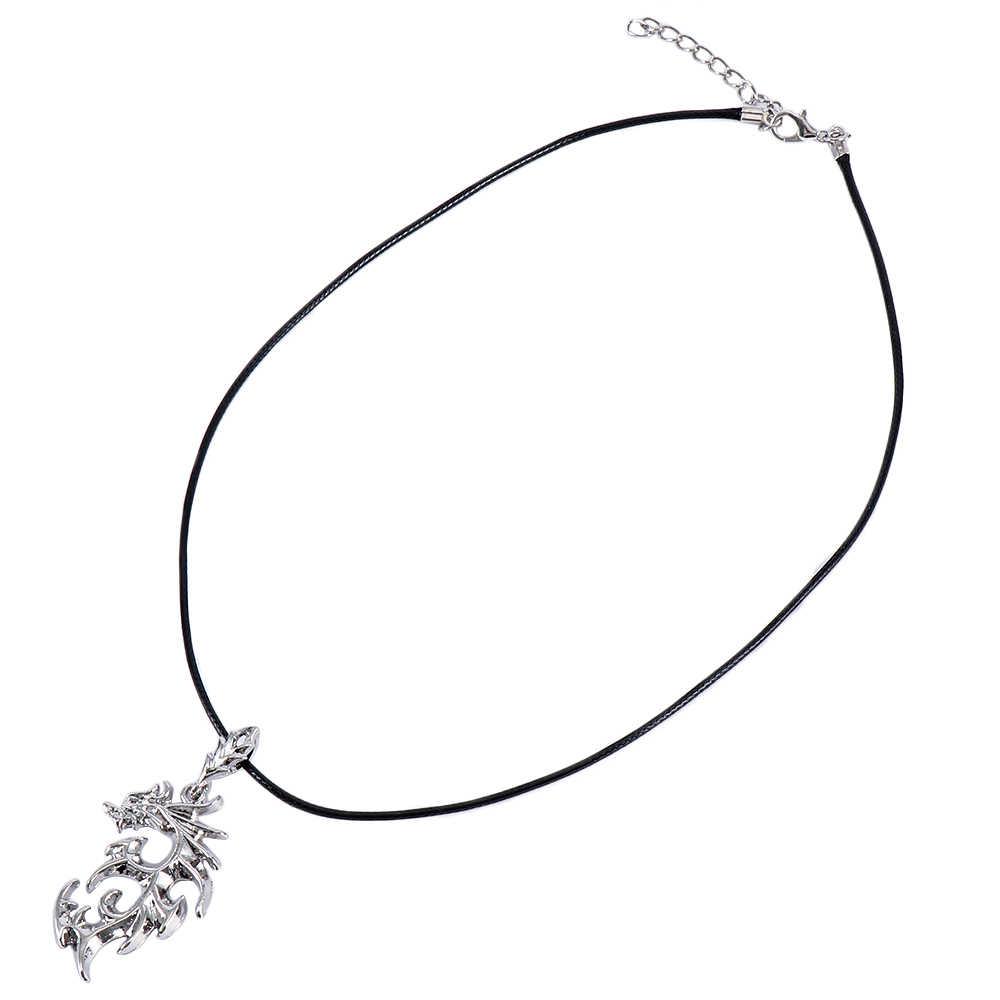 1 Pcs Vintage Warna Perak Kalung Pria Merk Dragon Liontin Kalung Fashion Perhiasan Baru Arriva dan Collares De Moda 2019
