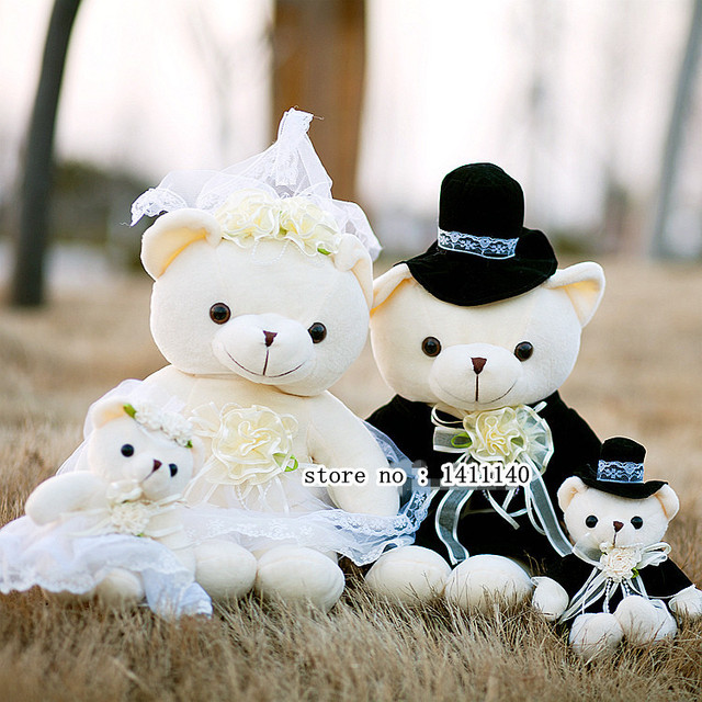 40cm Tall Teddy Bear Cake Topper Bride And Groom Wedding Toppers Car Decorations Gifts