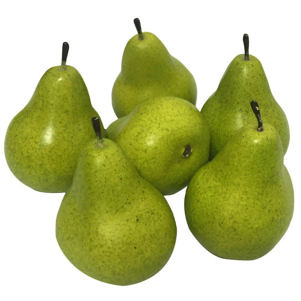 1/6PCS Lifelike Artificial Green Fruit Pear Kitchen Realistic Fake Display Food Home Decoration Supermarket Restaurant Props