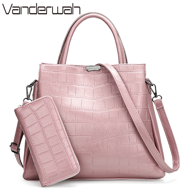 Vanderwah Crocodile Pattern Pink Bag Luxury Handbags Women Bags Designer Branded For Purses And