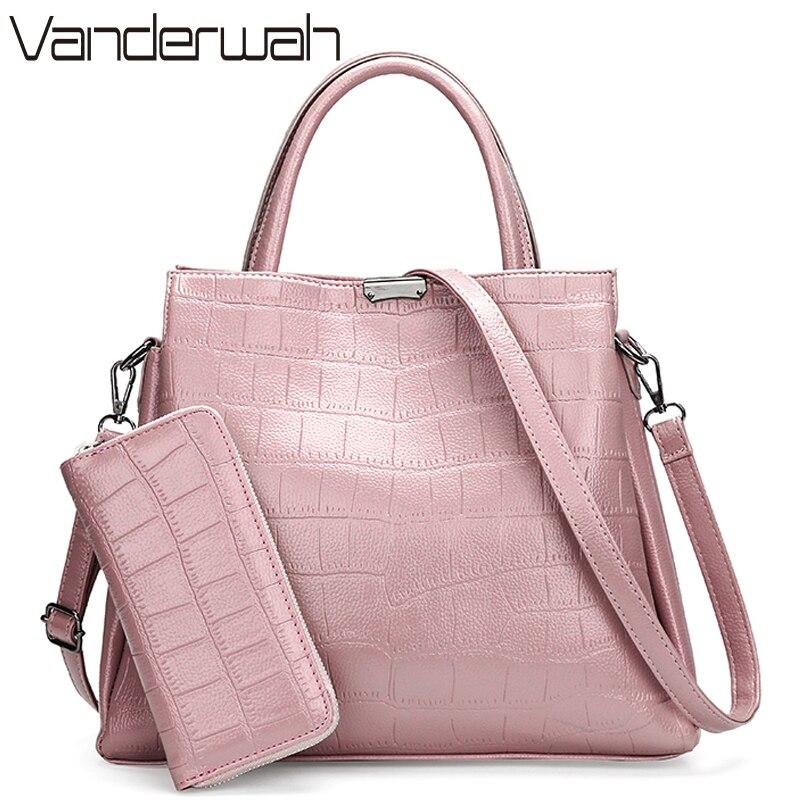 VANDERWAH Crocodile pattern Pink bag Luxury Handbags Women B