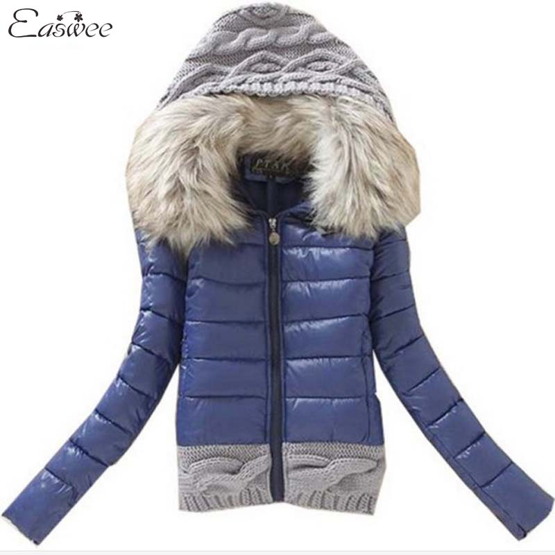 1PC 2016 Women Winter Coat Cotton Padded Jacket Short Knitted Hood Fur Collar Womens Jackets and Coats BB0006