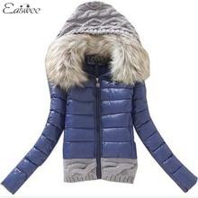 1PC 2016 Women Winter Coat Cotton Padded Jacket Short Knitted Hood Fur Collar Womens Winter Jackets and Coats BB0006