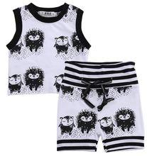 Infant Baby Clothes Suit Sleeveless Cartoon Print Tops Vest+Striped Shorts Vogue Bebe Kids Clothes Sets kids striped and star flag print vest dress