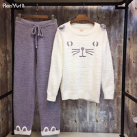 RenYvtil 2017 Autumn Winter Women Pajamas Set Sleep Jacket Pant Sleepwear Warm Nightgown Female Cartoon Animal Pants Sleepwear