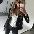 Autumn White Black double breasted  suit blazer Women  elegant slim  blazers 2016 winter coat jacket OL  office outwear