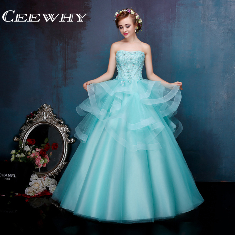 Ice Blue Embroidery Crystal Strapless Ruffles Ball Gown Floor-Length Quinceanera Dresses Sweet 16 Dresses 2017 High Quality