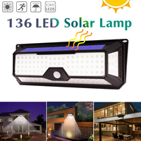136 LED of 4 Sides New Solar Powered Light Outdoor Waterproof Garden 3 Mode LED Solar Lamps Pir Motion Sensor Security Wall Lamp