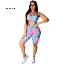 Echoine Women Sexy Two Piece Set Tie-Dye Print O-Neck Sleeveless Crop Tops Backless Hollow Out Shorts Swim Suits Tight Sportwear
