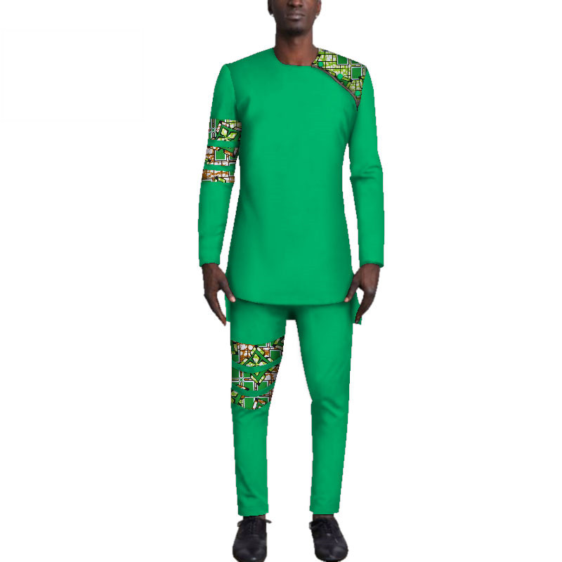 Casual-Mens-African-Clothing-Bazin-Riche-Patchwork-Top-Shirt-and-Pants-for-Men-Custom-100-Cotton(5)
