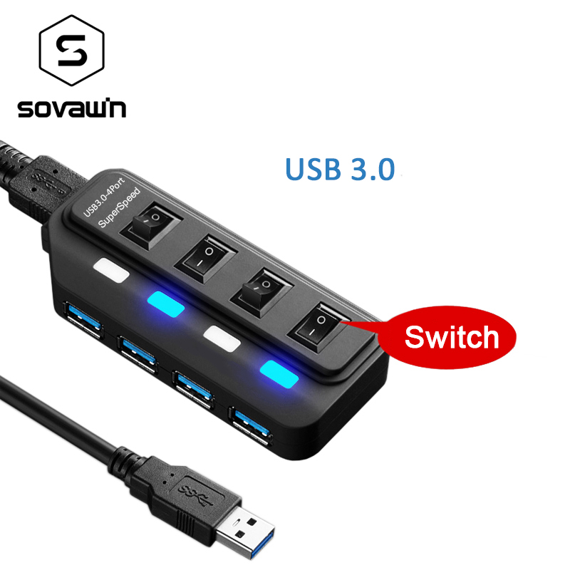 5Gbps USB 3.0 HUB 4 USB Ports Switch LED Splitter Adapter with Bold Cable High Speed Hab ...