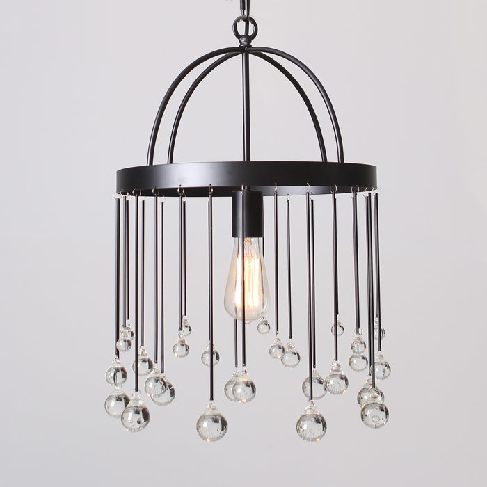 Modern iron cage pendant light hallway restaurant study balcony bedroom  living room fashion Rural round K9 crystal lamps ZA 11d8a121e74