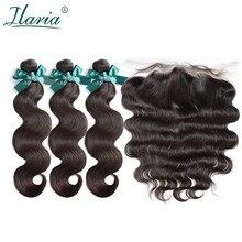 ILARIA волосы бразильские объемные волнистые 3 пучка с закрытием человеческие волосы плетение пучки с 13x4 кружева фронтальное закрытие предварительно сорванные