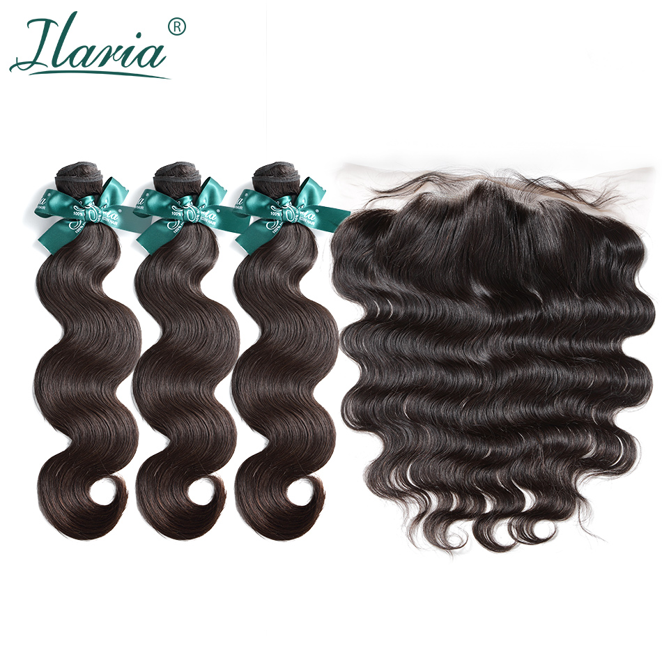 ILARIA HAIR Brazilian Body Wave 3 Bundles With Closure 100% Human Hair Weave Bundles With 13x4 Lace Frontal Closure Pre-Plucked