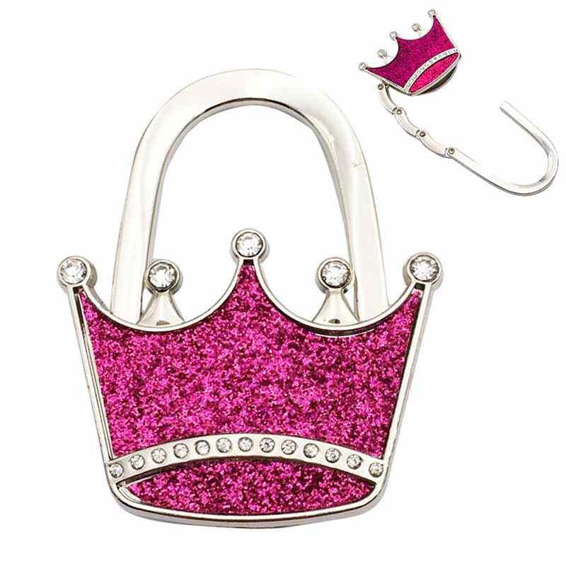 Strukturierte Metall Crown Form Handtasche Tasche Geldbörse Kleiderbügel Tisch Haken Shimmery J2Y