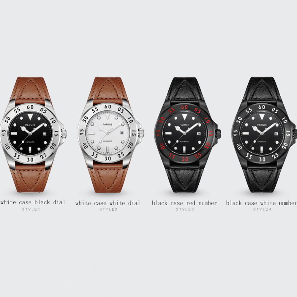 New Arrival 43mm Parnis Leather Strap Luxury Brand Sapphire Glass Date Luminous Miyota automatic movement Mens WristwatchesNew Arrival 43mm Parnis Leather Strap Luxury Brand Sapphire Glass Date Luminous Miyota automatic movement Mens Wristwatches