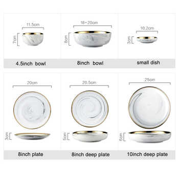 14pce/set Gold Lnlay Porcelain Dinnerware Sets Household Rice Soup Bowl and Dinner Plates Dessert Snack Plate for 4 People Use