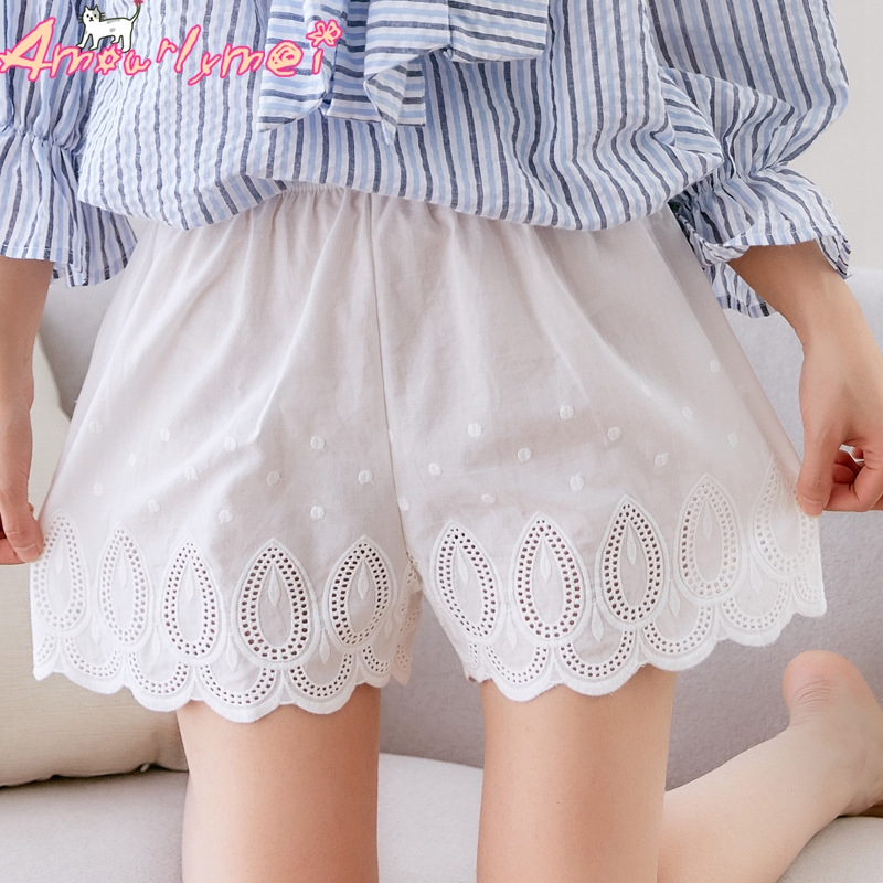 2018 Summer New Women Cotton Hollow Out Embroidery Lace Shorts Cute Japanese Style Mori Girl Lolita