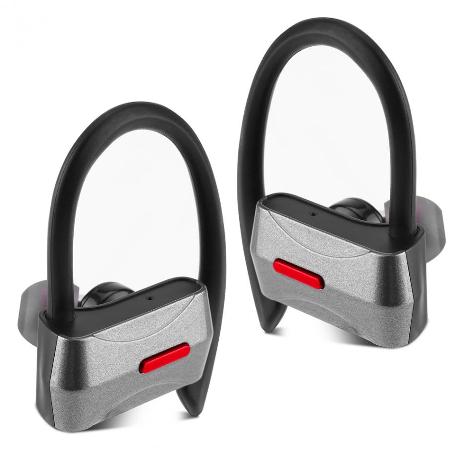 1 Pair Portable Wireless Sports Stereo Bluetooth Earphone Ear Hook Headphone Phone Grey