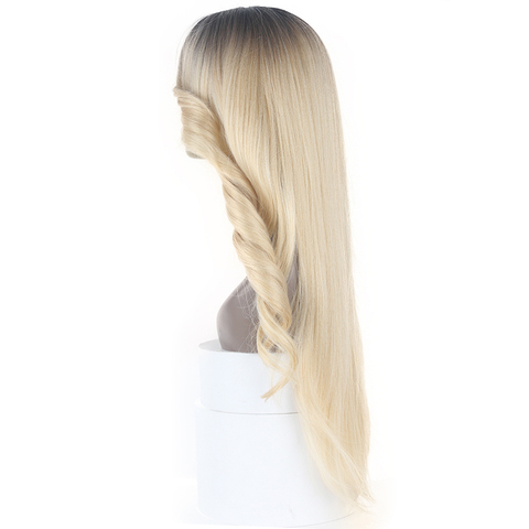 Ombre Pink Blonde Color Lace Part Synthetic Hair Wigs With Bangs Middle/Side Part X-TRESS Long Straight Lace Wig For Black Women Lahore