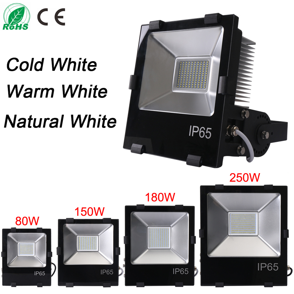 Ultrathin LED flood light 80W 150W 180W 250W Black AC85-265V waterproof IP65 Floodlight Spotlight Outdoor Lighting Free shipping ultrathin led flood light 100w 70w white ac85 265v waterproof ip66 floodlight spotlight outdoor lighting projector freeshipping