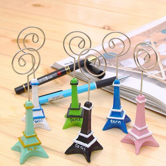 100pcs wedding gift 11cm Paris Eiffel Tower Brozen Place/Name/photo/Business Card Holder message board clip free shipping