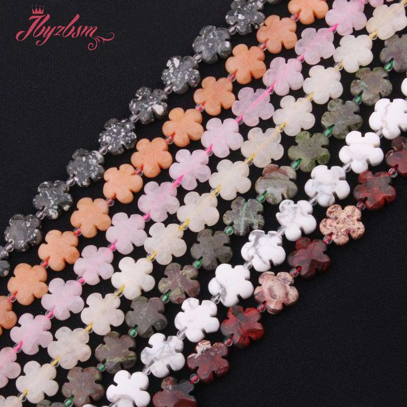 15mm Natural Stone Beads Flower Shape Beads For DIY Necklace Bracelets Earring Pandant Jewelry Making Loose 15 Free Shipping high quality nature aquamarin loose beads for women jewelry diy making for necklace an bracelets