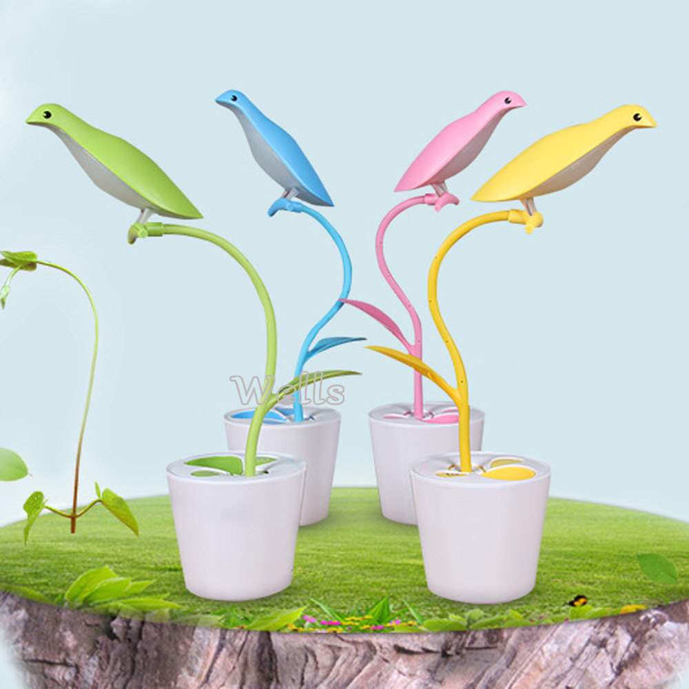 Birds LED Table Lamp Dimmable rechargeable Adjustable Brightness and pen container led Night light for Kids gift