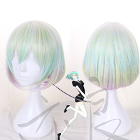 Japanese Anime Land of the Lustrous Diamond Cosplay Wig Gradient Fade Colorful Short Bob Hair with bright silk/yarn shinning wig