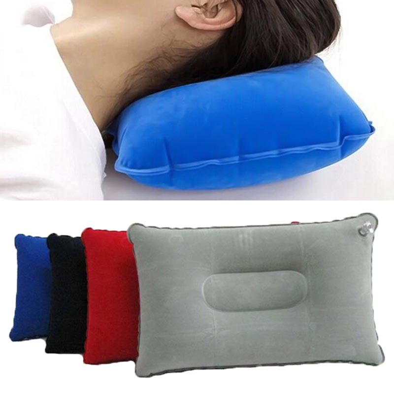 Outdoor Portable Folding Inflatable Pillow Double Sided Flocking Mini Pillow for Camping Travel Hiking Kamp Office Plane