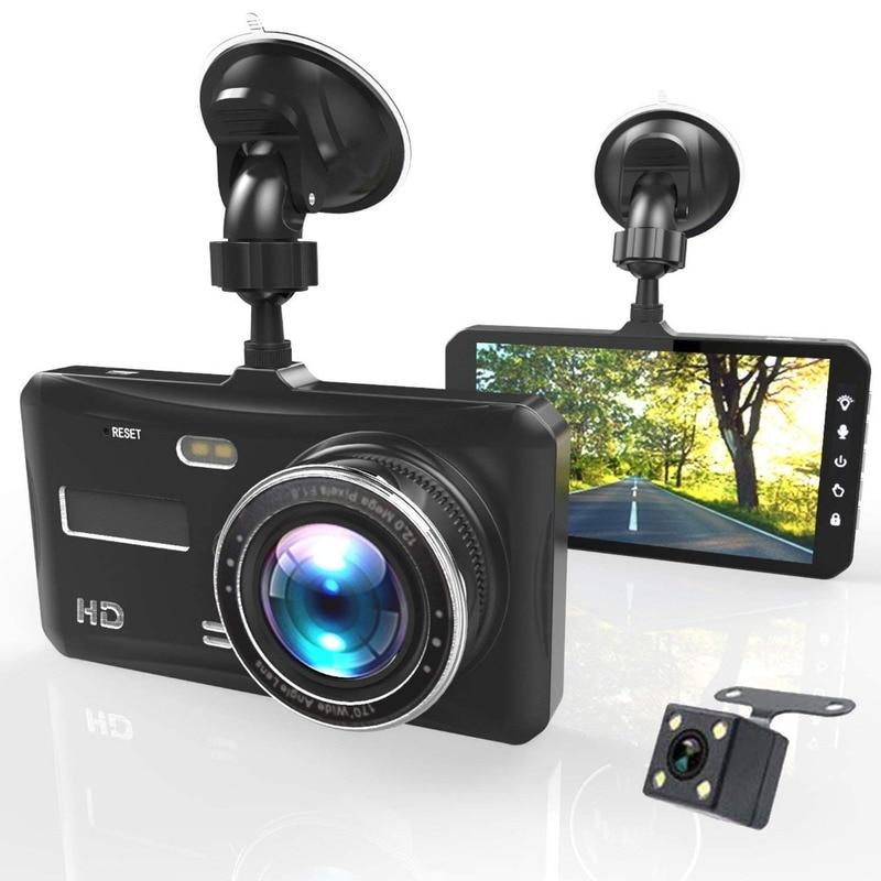 Avant arrière double lentille caméra Super grand Angle voiture DVR 4 pouces HD 1080 P Dash Cam vidéo caméra enregistreur voiture Vision nocturne capteur