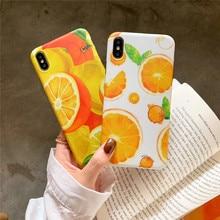 цена на Summer refreshing orange phone case For iphone XS MAX XR X 6 6s 7 8plus case cute soft shell TPU capa back cover shell