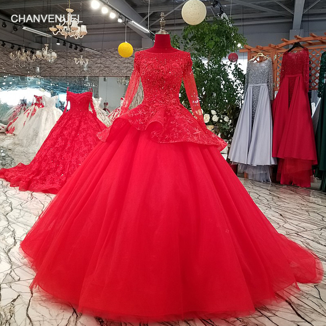 Ls69433 Red Ball Gown Evening Dress With Peplum O Neck Long Sleeve