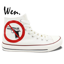 Wen Original Design Custom Hand Painted Shoes Gunshot Wound White High Top Men Women's Canvas Sneakers Christmas Gifts