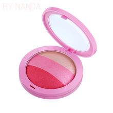 BY NANDA 2 Color Brusher Palette Waterproof Face Blush Powder Makeup Cheek Color Blusher Colorete Sleek Beauty