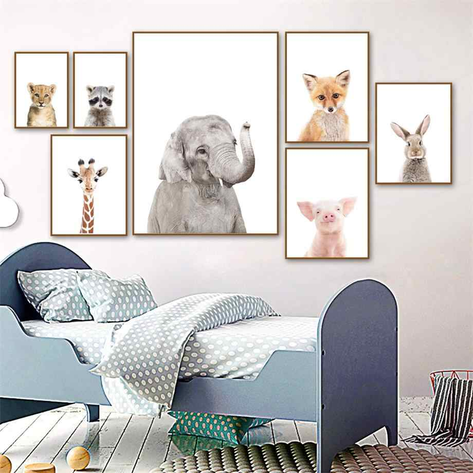 Cute Elephant Leopard Koala Fox Rabbit Wall Art Canvas Painting Nordic Posters And Prints Nursery Wall Pictures Kids Room Decor