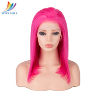 Sevengirls Pink Wig Brazilian Full Lace Human Hair Wigs Straight BOB Transparent Human Hair Wigs With Baby Hair For White Women