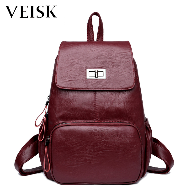 VEISK Lock Style Pu Leather Backpack Women New Backpacks For Teenage Girls Mochilas Mujer Back Pack Sac A Dos Femme