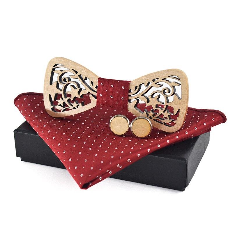 Полые деревянные бабочкой Pocket Square Set Формальные Бизнес дерева Лук Галстук платок Запонки Набор для мужчины