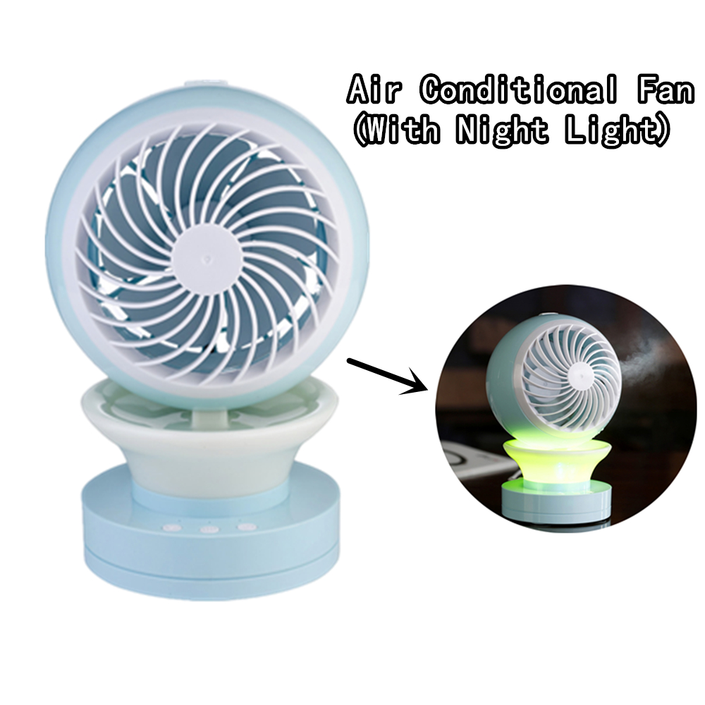 Water Mist Fan Rechargeable Misting Humidifier Fan With Night Light Spraying Cooling Fan Office Desktop Mobile