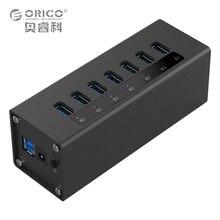 ORICO A3H7-BK 7 Port Haute Vitesse De Bureau USB3.0 Hub avec Adaptateur En Aluminium HUB Pour Macbook-Noir