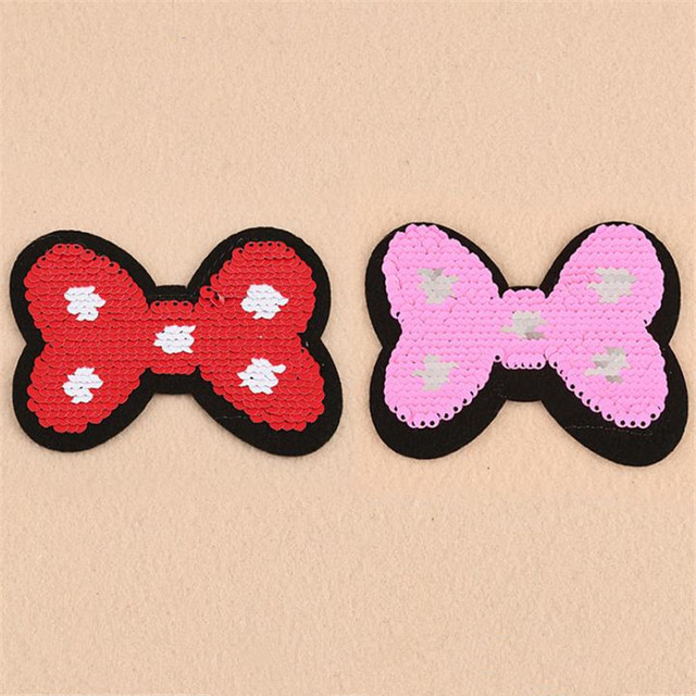 Clothing Women Cartoon bow Patch Reversible change color up and down flip red pink sequins patches for clothing sticker badge