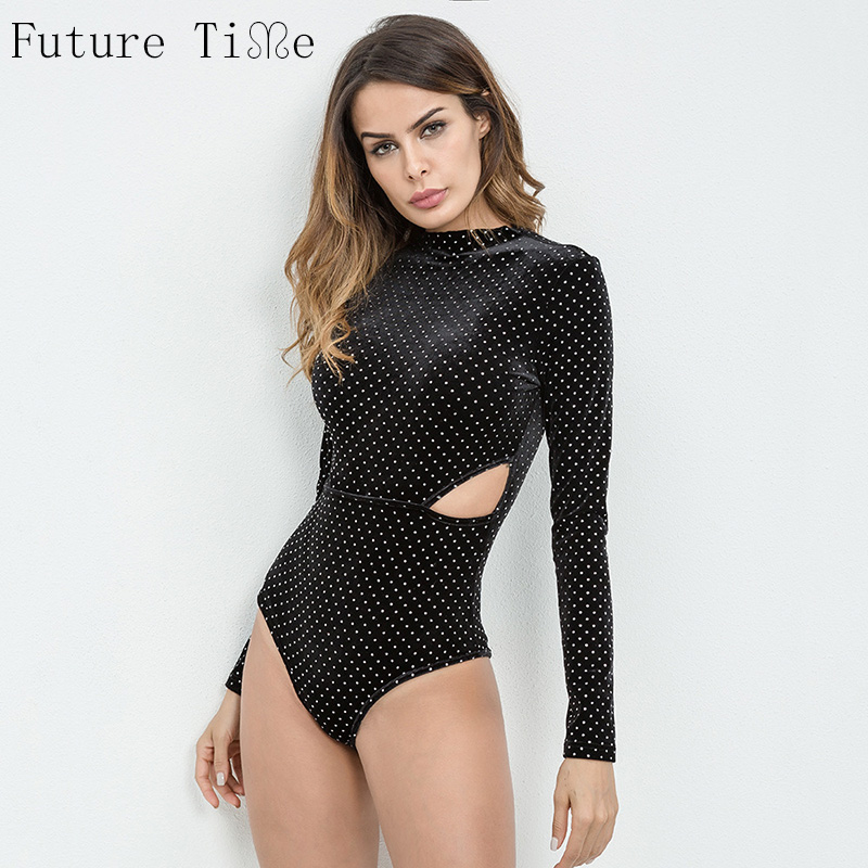 Future Time Polka Long Sleeve Cut Out Bodysuit Black Crisscross Choker Neck Ribbed Plain Rompers Women Elegant Bodysuit N147