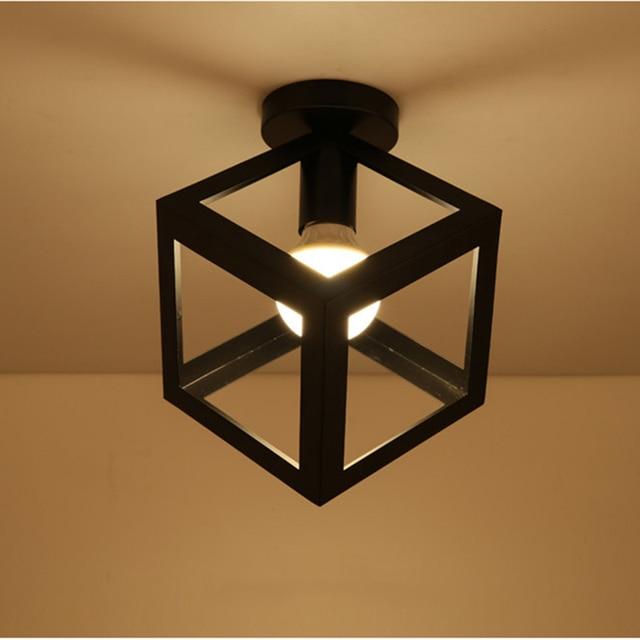 Zwarte SmeedijzerenLed Plafond Lampen  3