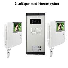 2 Units 4.3″ Apartment Video Door Phone Intercom System 1-Camera 2-Monitor Video doorbell for Apartment Video Doorphone Intercom
