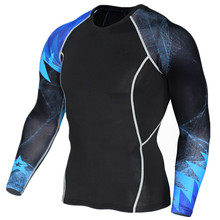 Womens Clothing Accessories - Mens Clothing - Blue 3D Print Sweatshirt Men's Skinny T-shirt Lycra Compression T Shirt Spring Summer Long Sleeve Fitness Riding Polyester Tops